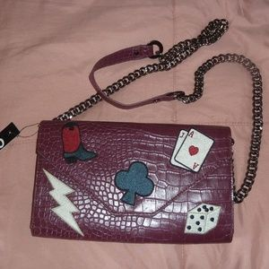 Sam Edelman CIRCUS Burgundy Purse, NWT, Cards Dice